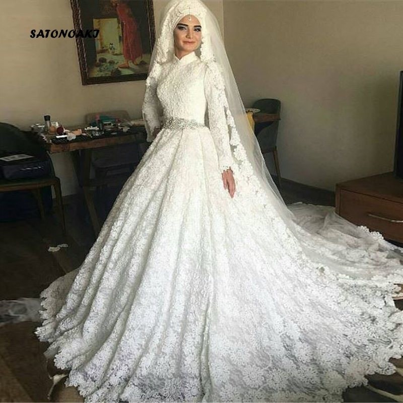 SATONOAKI  Arabia Women Ball Gown Hand Made Long Sleeve Wedding Gown Lace Muslim Wedding Dress Bridal Dress Vestido De Noiva