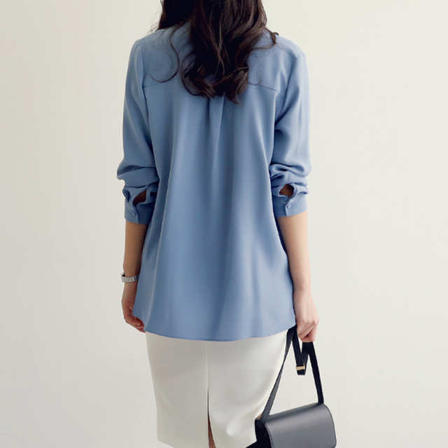 Casual white blue chiffon OL blouse shirt fashion woman blouses 2020 long sleeve blouse women blusa feminina female tops A137 6