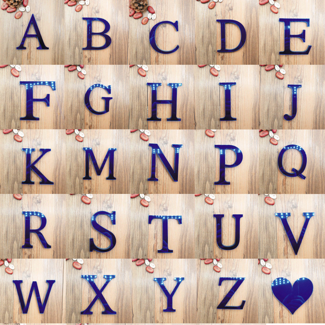 Acrylic Mirror 26 Capitalized English Decorative Scrabble Letters Stickers Alphabet Wedding Decoration Room Door Wall Stickers 6