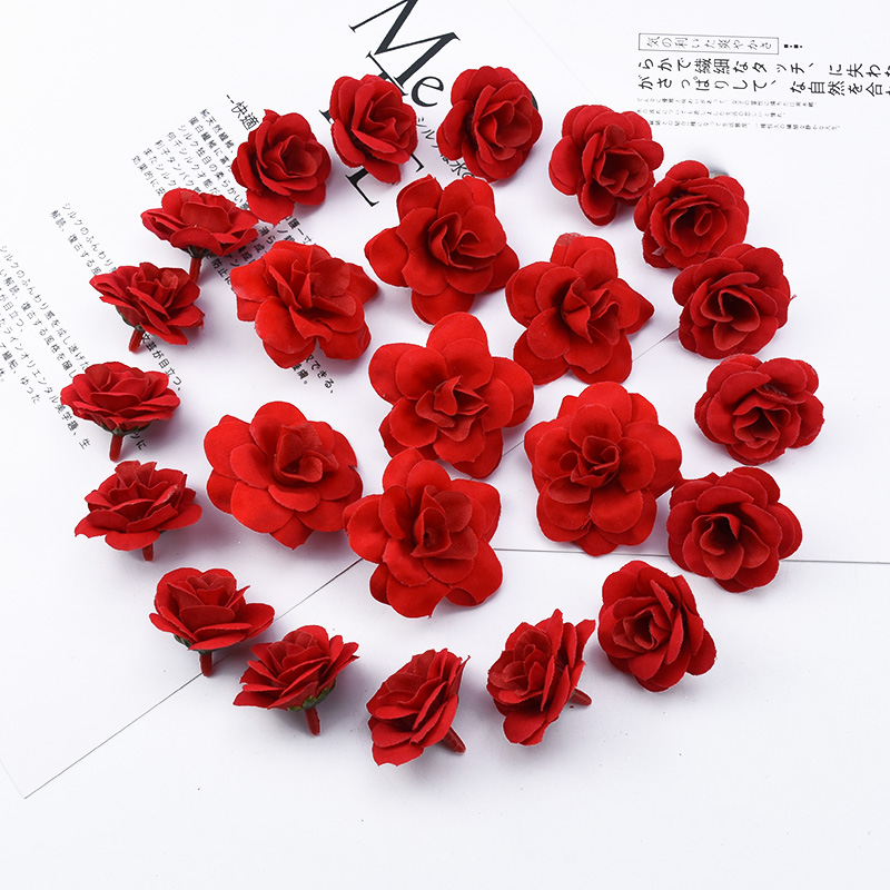 10 Pieces Red roses scrapbooking flowers wall bridal accessories clearance christmas decorations for home artificial flowers