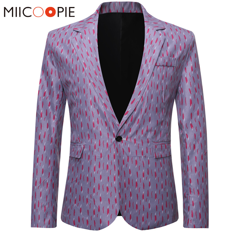Blazer Hombre 2019 Men Floral Print Blazer Suit Jacket Slim Fit Party Single Botton Male Blazer And Suit Jacket Outerwear Coat