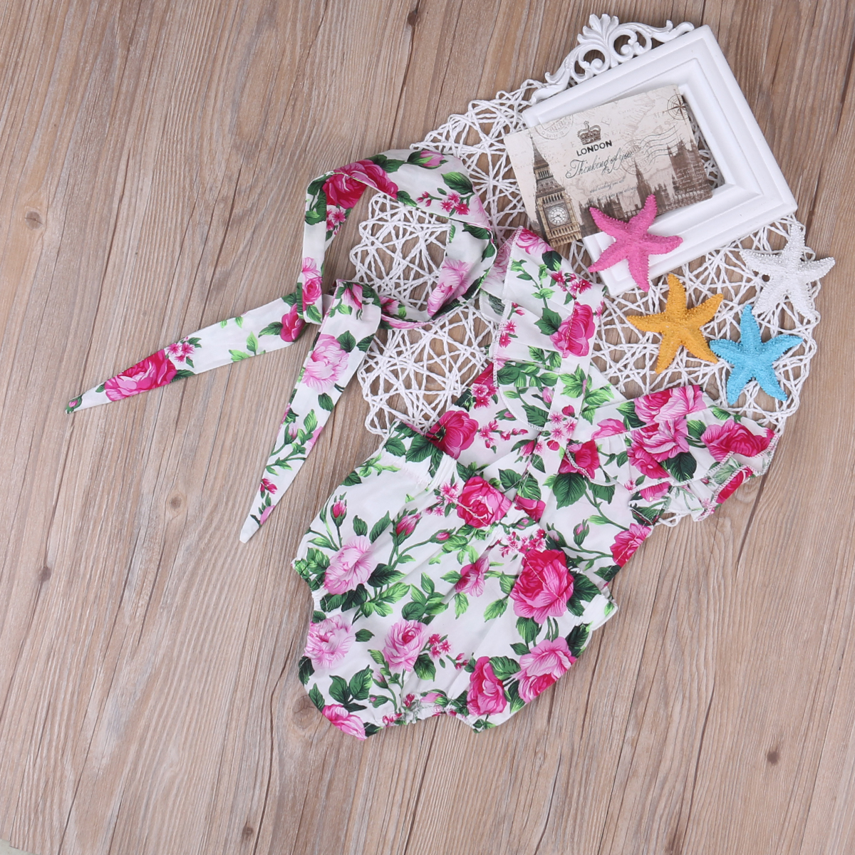 Cute 2 Pieces Spaghetti Halter Romper+Headbamd Jumpsuit Floral Sunsuit Outfits Set for Baby Girl