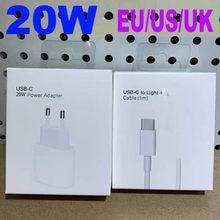 Original US royaume-uni ue 20W pour iphone 12 chargeur USB-C adaptateur secteur PD C2L chargeur rapide QC3.0 câble pour iPhone 12 mini 11 Pro Max