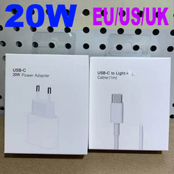 Original US UK EU 20W For iphone 12 Charger USB-C Power Adapter PD C2L fast charger QC3.0 Cable for iPhone 12 mini 11 Pro Max