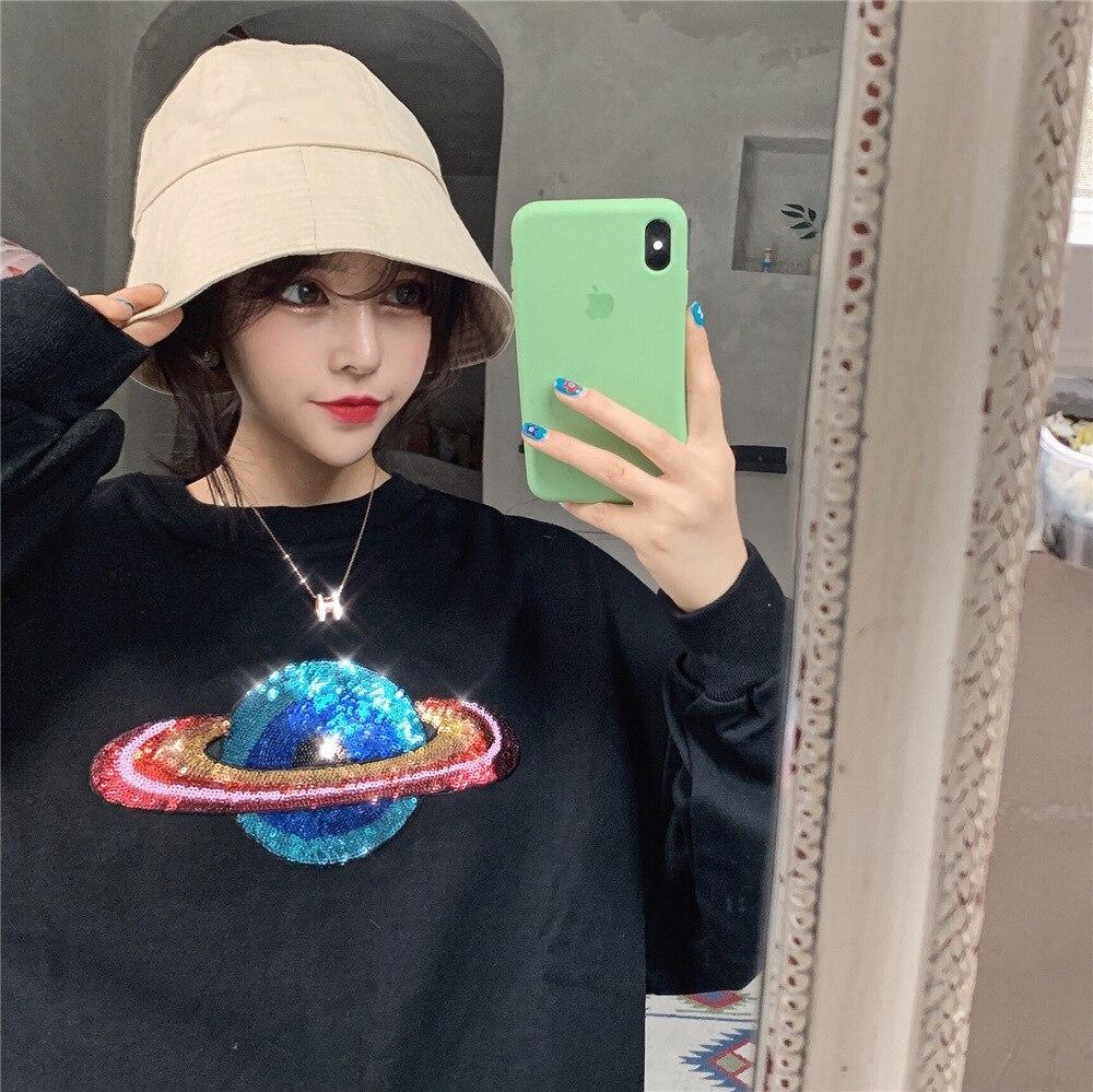 2019 Autumn Sequined Bling Planet Sweatshirt Women Long Sleeve Pullover Oversize Loose Hoodies Tops in Hoodies amp Sweatshirts from Women 39 s Clothing
