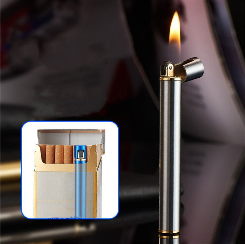 Mini-cigarette Lighter Can Be Put In To The Cigarette Box Fine Grinding Wheel Zinc Alloy Refillable Butane -- Gasless Delivery