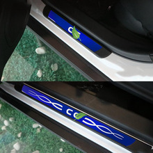 цена на 4PCS Car Styling Sticker Stainless Steel Door Sill Scuff Plate For VW CC Volkswagen CC 2012-2015 Car Accessories