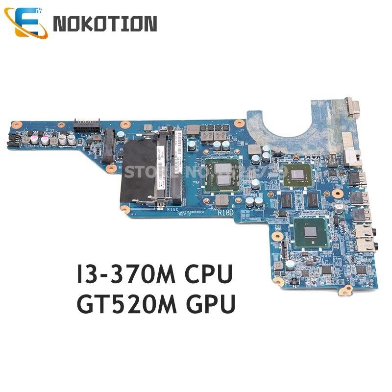 NOKOTION Laptop Motherboard For HP Pavilion G4 G6 G7 I3-370M CPU GT520M GPU 655985-001 DAR18DMB6D1 Mainboard