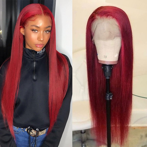 Ably Red 99j Colored Lace Front Human Hair Wigs For Women Pre Plucked Brazilian Straight T Shape HD Lace Frontal Wigs Remy 150%