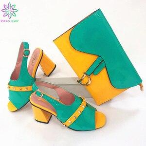 Комплект из туфель и сумочки для свадебной вечеринки в нигерийском стиле; новые модные женские туфли-лодочки и сумочка