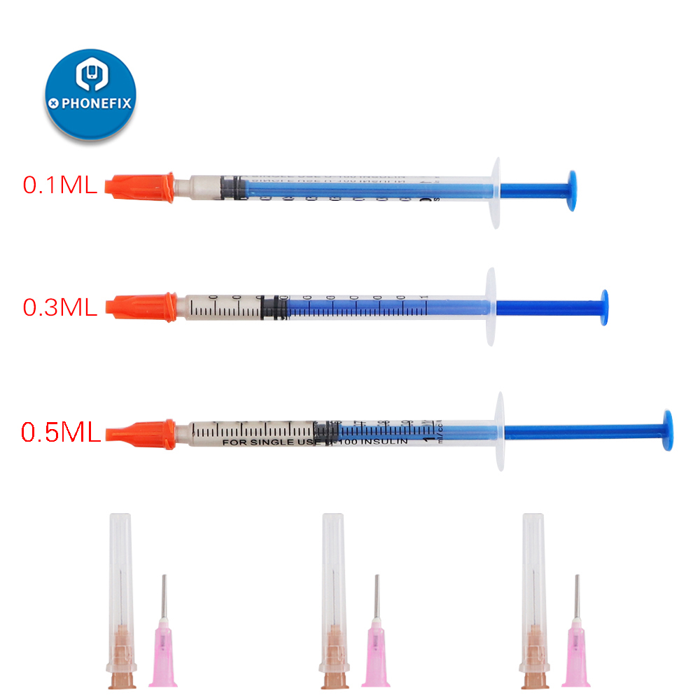 PHONEFIX 0.1ML 0.3ML 0.5ML Silver Conductive Paint Paste Wire Glue Electrically Conductive Glue Paste Adhesive Paint PCB Repair