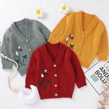 Sweter chłopięcy sweter New Fashion płaszcz dziecięcy Casual jesień sweter dla uczniów odzież dla niemowląt odzież wierzchnia 0-18M tanie tanio BOBOTCNUNU Moda COTTON lrj0630009 Pasuje prawda na wymiar weź swój normalny rozmiar Czesankowej Unisex Drukuj V-neck