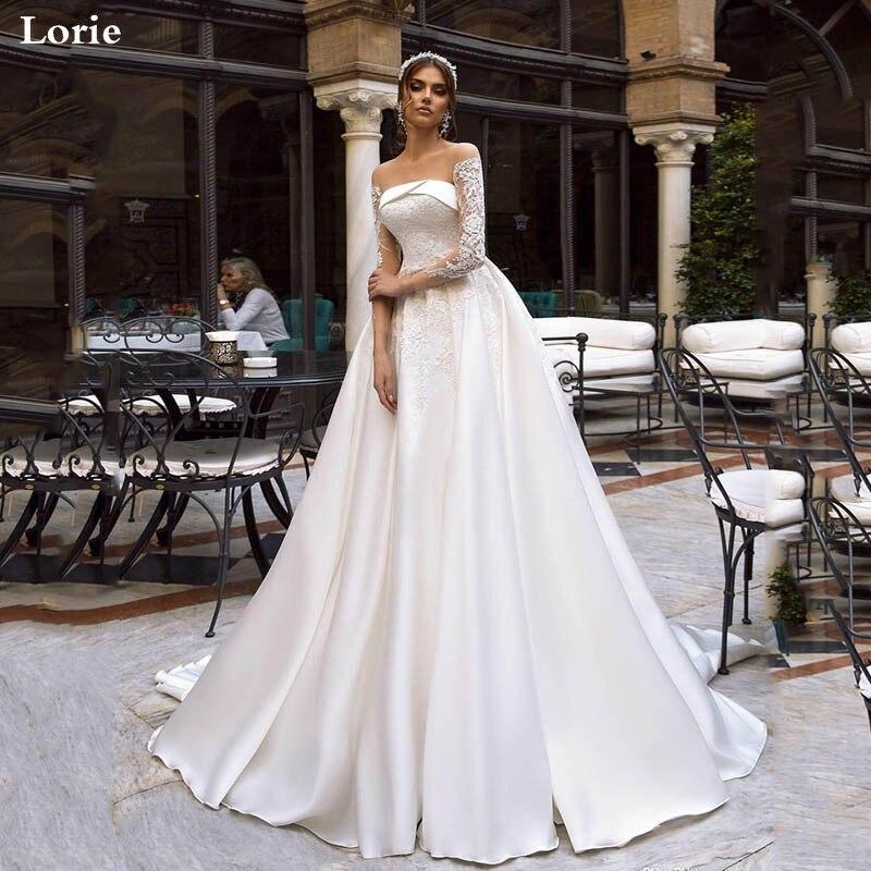 Lorie Wedding Dresses 2020 Long Sleeve Bride Dresses  See Through Neck Vestido De Novia  Boho Wedding Gown For Women Custom Made