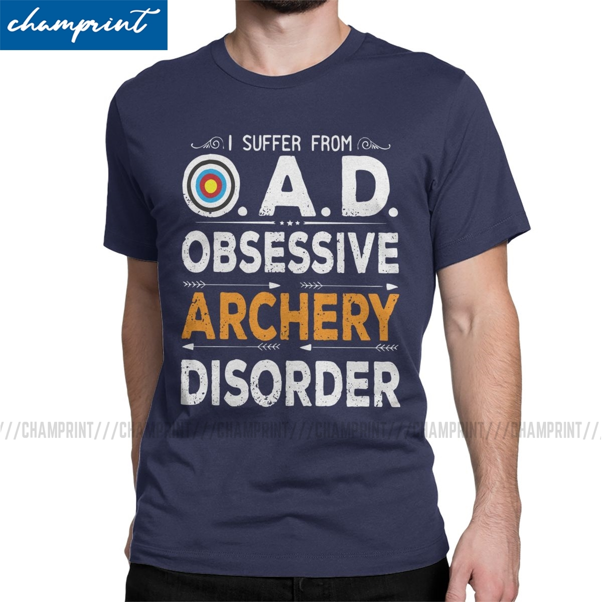 Men's OAD Obsessive Archery Disorder Funny Quote Archery Lover Bow Arrow Archer T Shirt O Neck Tee Shirt Gift Idea T-Shirts
