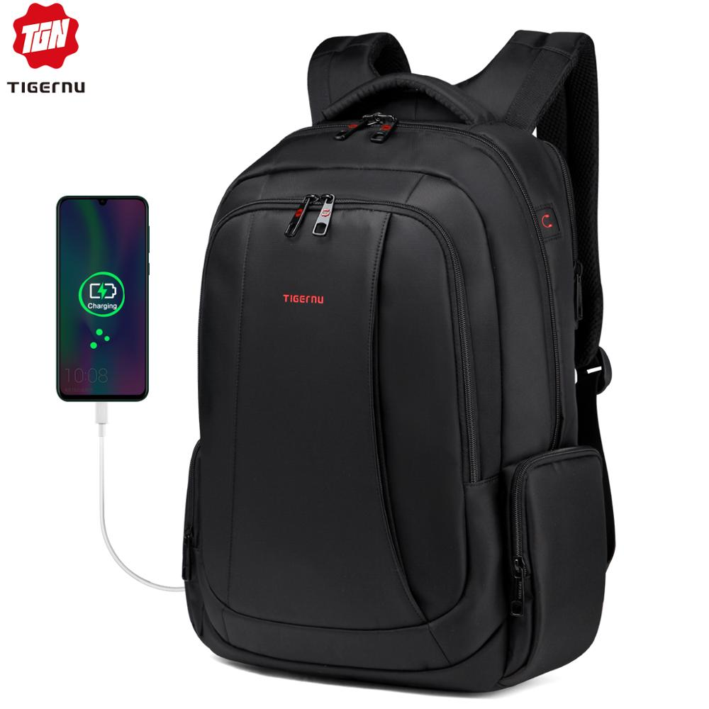 Tigernu 15.6inch 27L USB Charging Anti Theft Waterproof Nylon Mochila Travel Men Backpacks Bags Casual Business Laptop Backpack