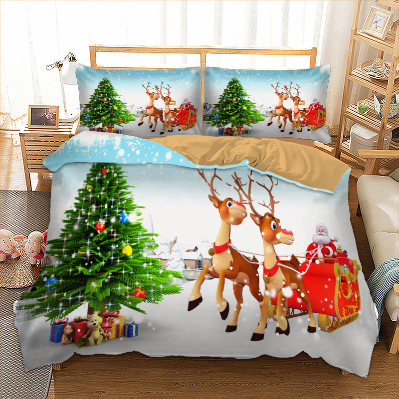 Merry Christmas Bedding Set 3D Cartoon Santa Claus Duvet Quilt Cover With Pillowcases Twin Queen King Size 2019 New Year