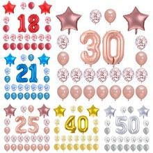 24 pçs/set Folha Número Balões Feliz Aniversário 18 20 25 30 40 50th Aniversário adulto Decorações Do Partido Confete Estrela Balão