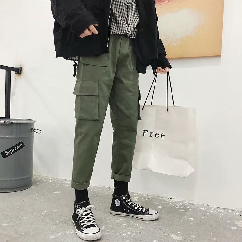 INS Super Fire Pants Loose-Fit Ulzzang Bib Overall Men's Popular Brand BF Style Straight-Cut Harajuku