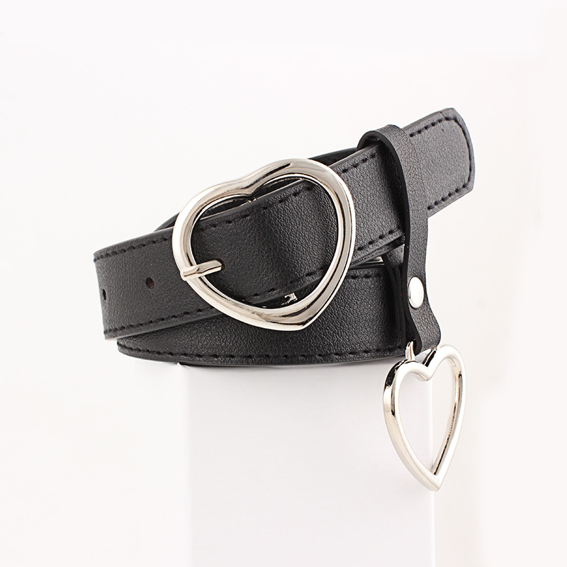 Women Belt Fashion PU Leather Heart Shape Pin Buckle Belt Round Hexagon Triangle Geometry Pin Buckle