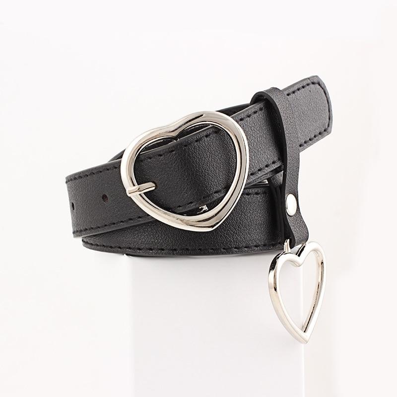 Women Belt Fashion PU Leather Heart Shape Pin Buckle Belt Round Hexagon Triangle Geometry Pin Buckle