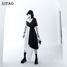 XITAO Irregular Women Dress Fashion New Women Patchwork 2020 Summer Goddess Fan