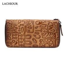 цена на Lachiour Unisex Handbag Wallet Men Genuine Leather Long Purse Zipper Around  Women Clutch Bag Wallet for Coins and Phone
