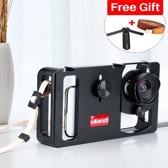 Ulanzi u rig metal handheld smartphone equipamento de vídeo vlog configuração alça aperto estabilizador com lente do telefone para iphone huawei videomakers
