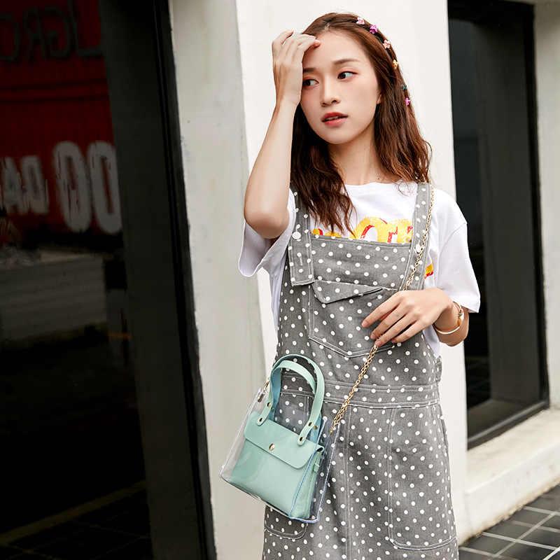 Kulit Tas Tangan untuk Wanita 2019 Transperent PVC Tas Tangan Wanita Mini Tas Bahu Hitam Crossbody Messenger Kantong Ponsel