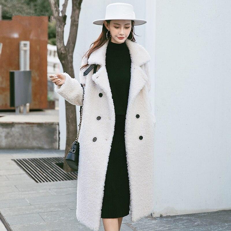 Women Coat Winter Real Fur Coat Female Sheep Shearling Jacket Women 100% Wool Coats Korean Outwear Manteau Femme 968868 S