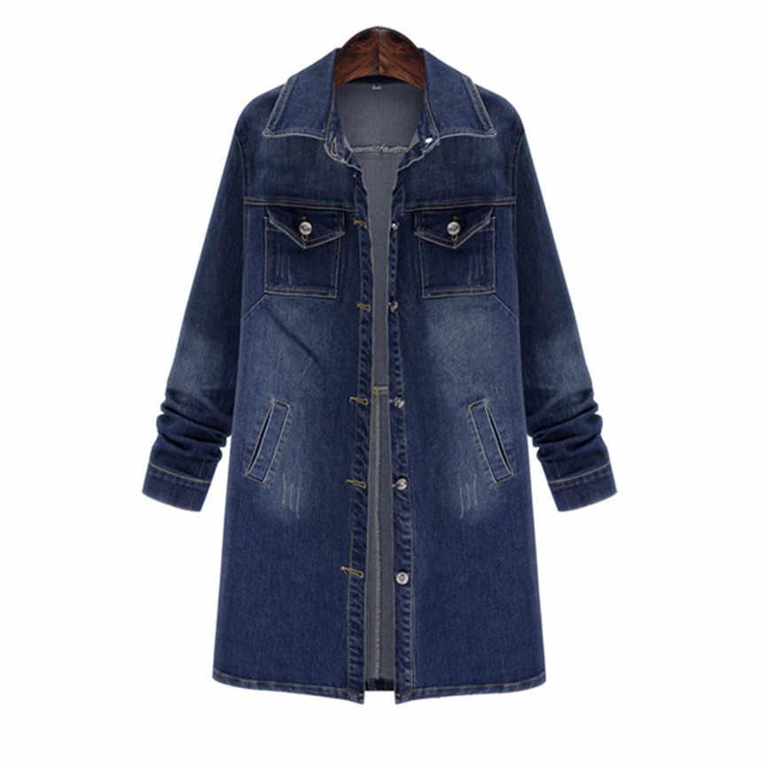 Винтажное осеннее пальто с длинными рукавами женские повседневные свободные джинсы оверсайз длинное пальто Ретро ковбойская джинсовая Свободная куртка крутые женские куртки