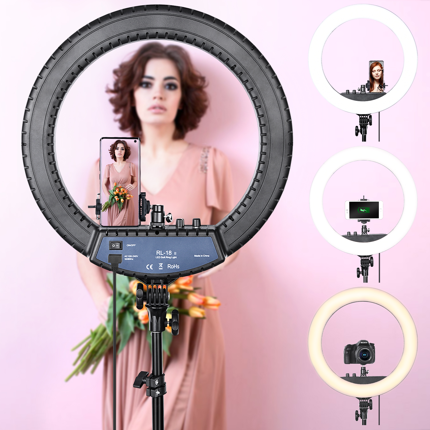 FOSOTO RL 18II Led Ring Light 18 Inch Ring Lamp 55W Ringlight Photography Lamp With Tripod FOSOTO RL-18II Led Ring Light 18 Inch Ring Lamp 55W Ringlight Photography Lamp With Tripod Stand For Phone Makeup Youtube Tiktok