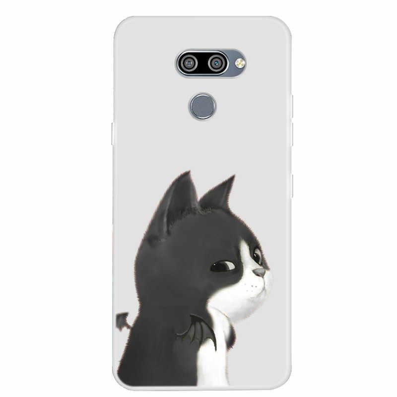 Para LG Q60 K50 Caso Silicone Macio TPU Tampa da Caixa Do Telefone Para Coque LG Q60 Q 60 Pintura Caso Funda legal Leão Animais Capas Claras