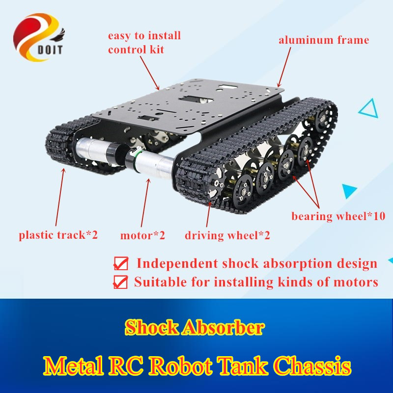 Free Shipping Shock Absorber Metal RC Robot Tank Chassis Kit With Track, DC Motor, Tracked Mobile Platform R3 Raspberry Pie