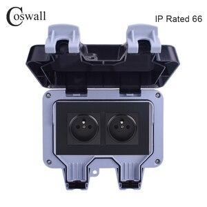 Image 2 - Coswall IP66 Chống Chịu Thời Tiết Chống Nước Ngoài Trời Tường Ổ Cắm Điện 16A Đôi Pháp Tiêu Chuẩn Ổ Cắm Điện Nối Đất AC 110 ~ 250V