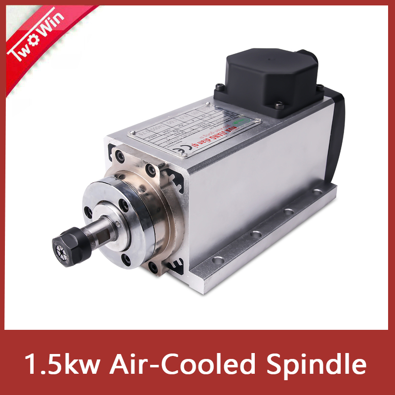 1.5kw Air Cooled <font><b>Spindle</b></font> <font><b>motor</b></font> <font><b>110V</b></font>/220V Square Air-cooling <font><b>Spindle</b></font> Milling <font><b>Spindle</b></font> for CNC Engraving Wood Router image