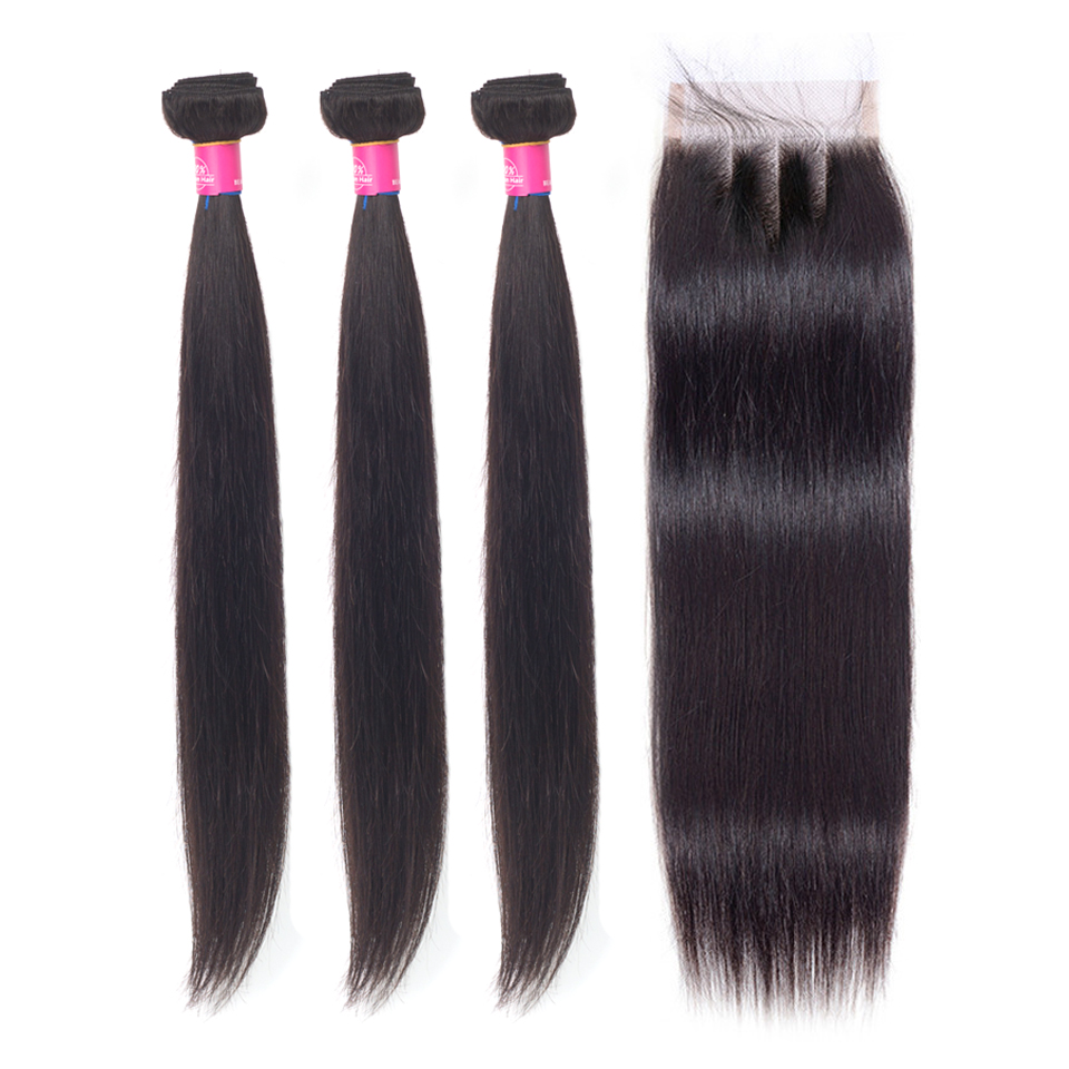Peruvian Hair Bundles With Closure 8  30 Inch Remy Human Hair 3 Bundles Straight Hair Bundles With Closure-in 3/4 Bundles with Closure from Hair Extensions & Wigs