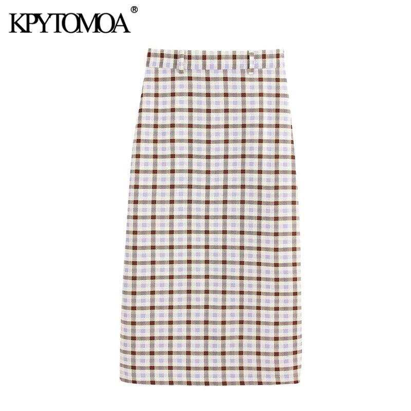 KPYTOMOA Women 2020 Chic Fashion Office Wear Plaid Midi Pencil Skirt Vintage Side Zipper Back Vents Female Skirts Faldas Mujer