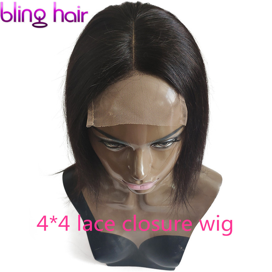Straight 4 4 Lace Closure Wig 100 Human Hair Wigs with Baby Hair Bleached Knots Peruvian