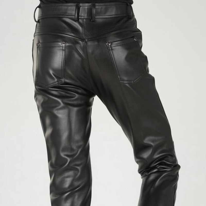 New Arrival Autumn Fashion Mens Black Leather Pants Slim Fit Fashion Korea Motorcycle Trousers Winter Skinny Pants For Man 38