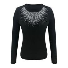 Long Sleeve Shirts Women O-neck Elegant Autumn Winter Slim Fit See Through Elega
