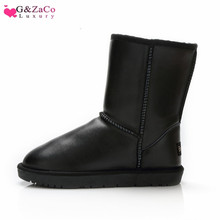 G&Zaco Luxury Winter Cowhide Snow Boots Female Cylinder Fur Black Waterproof Genuine Leather Warm Mid Calf Flat