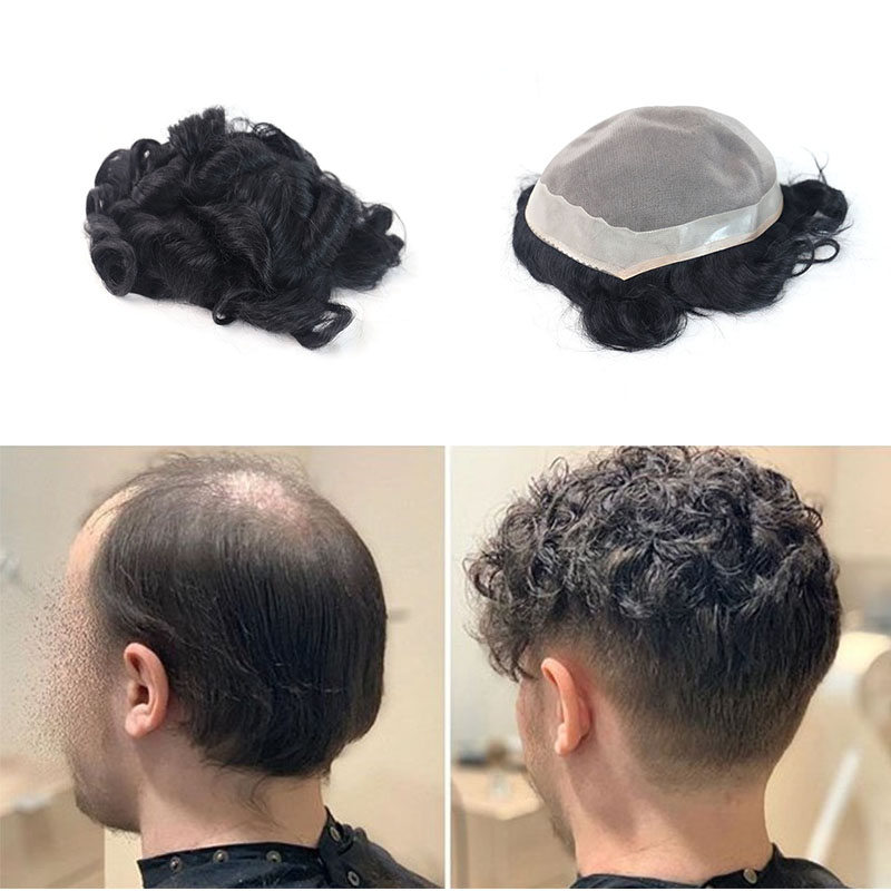 Replacement System For Men Mono Remy Human Hair Durable Hairpieces Toupee For Men Rosa Queen #1