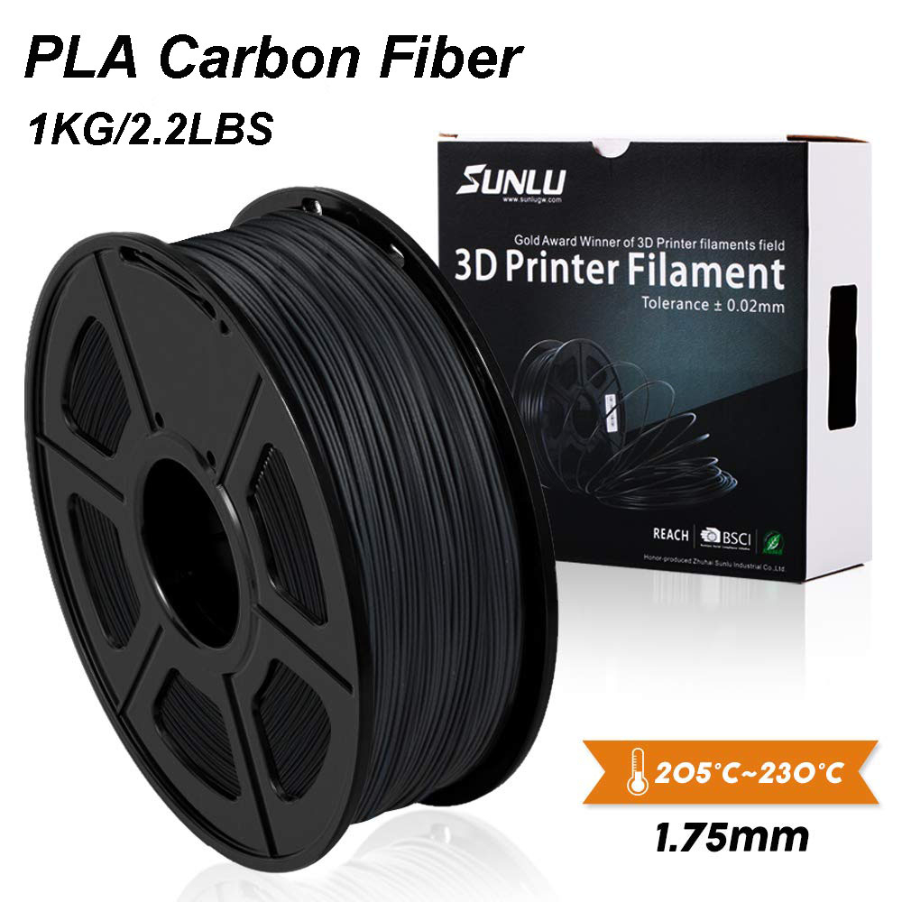 SUNLU PLA Carbon Fiber Premium 3D Printer Filament Extremely Rigid Carbon Fiber 1.75mm +/- 0.02mm 1 KG (2.2 Lb)