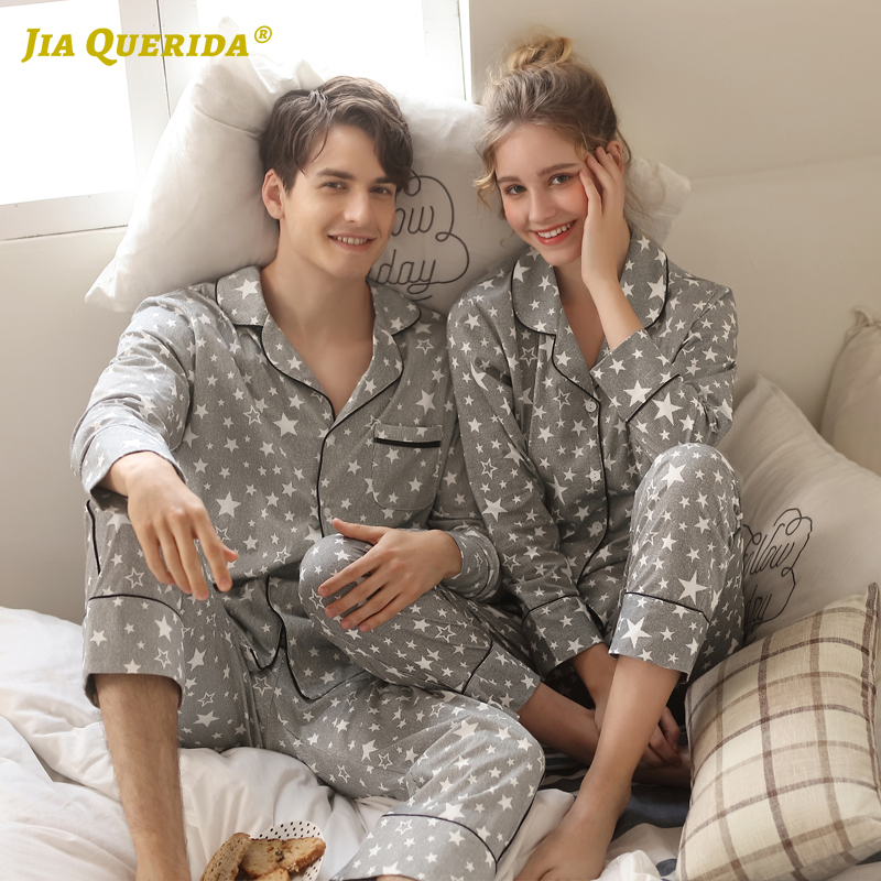 Couple New Pajamas Men 2020 Fashion Home Clothing Men And Women Cardigan Cotton Sleepwear Lapel Stars Print Sleepwear Pyjama Set