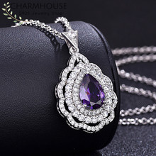 Charmhouse Silver 925 Necklaces For Women Waterdrop Pendant Necklace With Zirconia Collier Femme Wedding Bridal Jewelry Gifts(China)