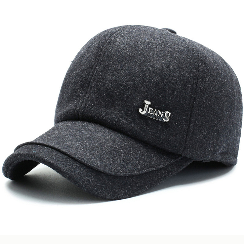 HT2618 Winter Baseball Cap Thick Warm Men Dad Hat with Earflap Male Adjustable Wool Felt for