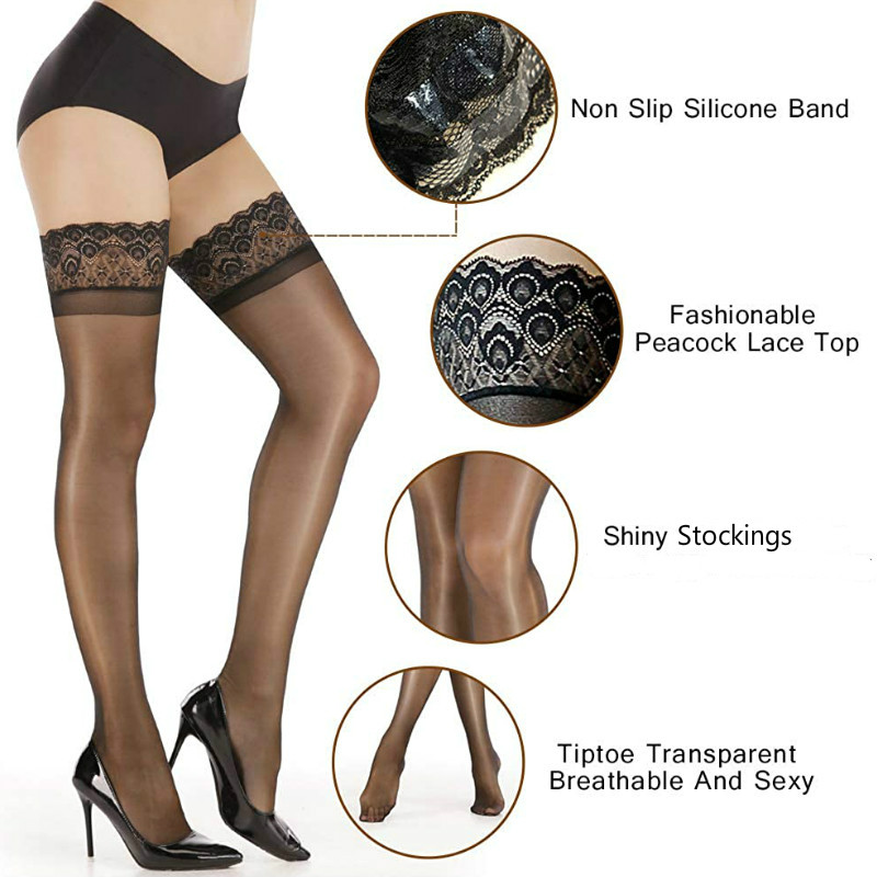 Non Slip Silicone Stocking Women's Fashionable Peacock Lace Top Shiny Stockings Tiptoe Transparent Breathable and Sexy Hosiery