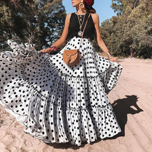 купить Women Long Dress Summer Sexy Sleeveless Ruffles O-Neck Dot Print Tank Dresses Casual Loose Elegant Vacation Maxi Dress Plus Size дешево