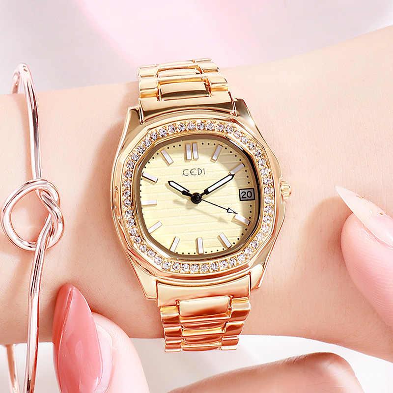 Relojes de cuarzo impermeables de lujo para mujer, reloj de pulsera de acero inoxidable de alta calidad, reloj de pulsera para mujer, regalo