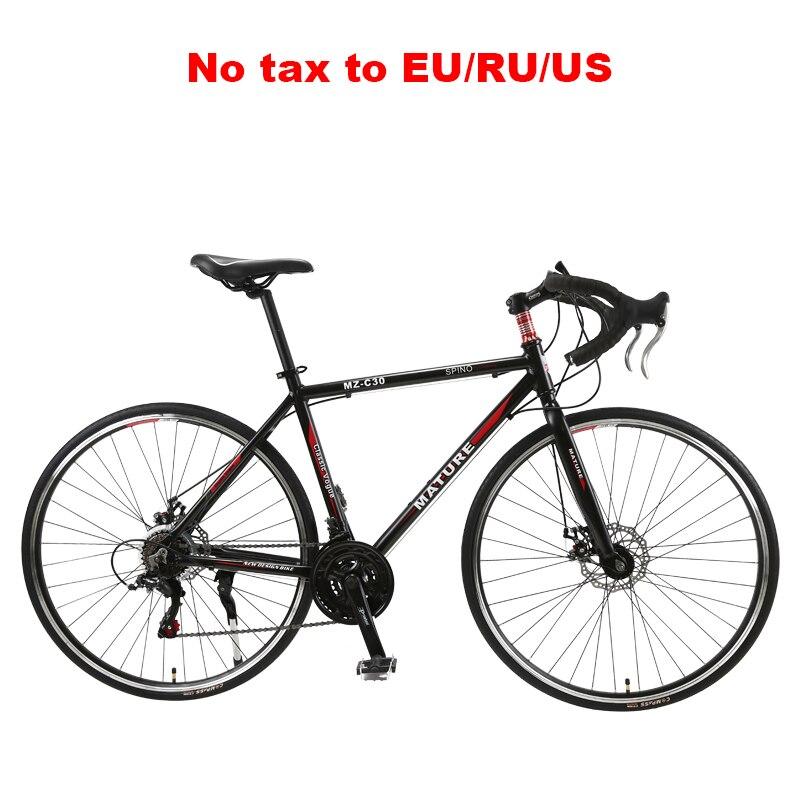 Дорожный велосипед 700C из алюминиевого сплава для взрослых, скоростной двойной дисковый тормоз, изогнутый, 21/ 27/ 30 скоростей